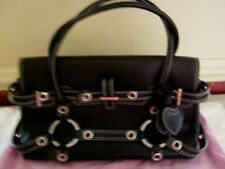 100% Authentic Luella Large Leather Satchel Handbag in Black