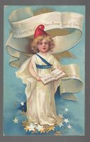 """[42583] OLD POSTCARD ELLEN CLAPSADDLE ARTIST UNSIGNED """"MY COUNTRY 'TIS OF THEE"""""""