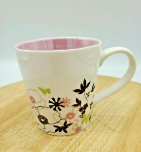 Starbucks 2006 Floral Coffee Cup Mug White Pink Green Flowers Butterflies 11oz