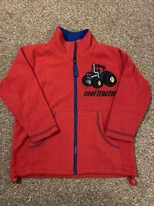 JPW JUNIOR Cool Tractor Red Blue Zip Up Pocket Fleece Jacket Jumper 5-6 Years