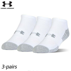 UA Socks: 3-PAIR HeatGear Tech No Show (XL) White