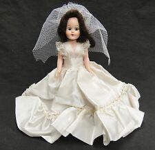 "Vintage Wedding Bride Doll 8"" Hard Plastic Jointed Arms Frozen Legs Sleep Eyes"
