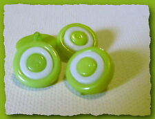 4 BOUTONS Vert anis cercle blanc 14 mm pied 1,4 cm  button white sewing mercerie