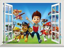 3D Window PAW Patrol Marshall Rubble kids room decals wall decor Wall sticker