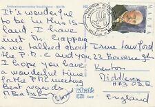1986 Malta FDC card Philanthropist sent from Valetta to Kenton England