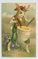 VINTAGE EASTER POSTCARD - RABBIT DRUMMING EGG - ANTHROPOMORPHIC HUMANIZED UDB