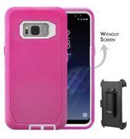 Case For Galaxy S8 Heavy Duty Shock Reduction/Bumper Case w/Belt Clip Hot Pink