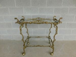 Vintage Brass Asian Style Dragon Head Accented Rolling Serving Cart