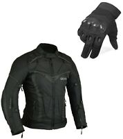 Aircon Motorbike Jacket Waterproof + Protective Motorcycle Gloves