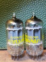 Sylvania 12ax7 7025 Vacuum Tube Pair Matched NOS Long Plate Audio Guitar Amp