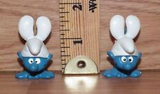"""2 Bully Peyo """"Smurfs Doing Handstands"""" Toy PVC Figures Only **READ**"""