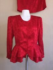 Vintage 80s Argenti Petite Red Silk Double Peplum Blouse and Pencil Skirt Set 10