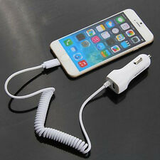 5V 2.1A Power USB Auto Car Charger with Coiled Spring USB Cable For iPhone 5 6 E