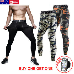 Mens COMPRESSION PANTS Tights Skins Base Layer Running Fitness Gym Bottoms