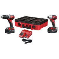 Milwaukee 2697-22PO M18 Compact 2-Tool Combo Kit (3 Ah) w/ PACKOUT Tool Box New