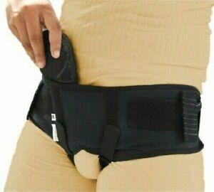 Black hernia belt double inguinal removable truss brace pads support S-M-L-XL