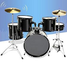 Black 5 Piece Complete Adult Drum Set Cymbals Full Size Kit w/ Stool & Sticks