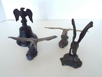 Metal Eagle Collection Bell Sculptures Hudson Pewter Cast Iron Hawk 4 Piece Lot