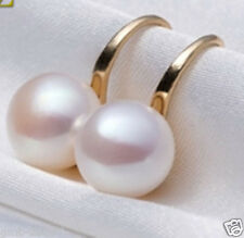 Genuine Natural 11-12mm White Akoya Freshwater Pearl Earrings