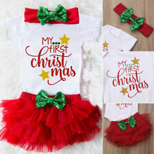 Christmas Baby Girls Princess Romper+Tutu Ruffle Short Bloomer Clothes Set TP
