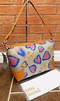 VIVIENNE WESTWOOD CANVAS & LEATHER SECRET HEART SHOULDER TOTE BAG MADE IN ITALY