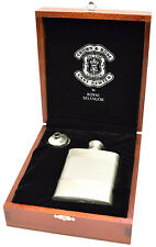 Crown and Rose 3oz Pewter Hip Flask in Deluxe Wooden Gift Box withFree Engraving