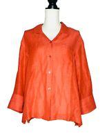 Coldwater Creek Red Orange XL Women's Button Up Top Silk Linen Blend Blouse
