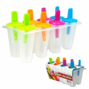 8x Ice Lolly Pop Mould Maker Jelly Cream Frozen Juice Ice Cream Mold Tray Kids
