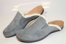 Vionic Sharon Womens 10 42 Gray Plush Suede Slippers Mules Slip Ons Flats Shoes