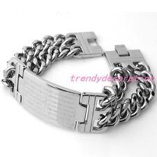 "9"" 23mm Stainless Steel Silver ID Cross Bracelet Men's Double Curb Chain Jewelry"