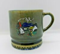 Wade Made in Ireland Green and Blue Small Mug, Country Scene with Cottage