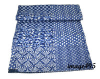 Patchwork Kantha Quilt Indigo Handmade Cotton Comforter Blanket Bedding Throw