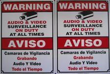 2 CCTV Surveillance Signs Spanish English Metal Security Camera Video Warning