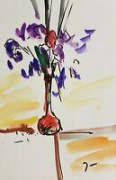 JOSE TRUJILLO ART FLOWERS ORIGINAL Watercolor Painting FAUVIST - 6X9