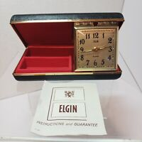 Vintage Elgin Travel Alarm Clock Jewelry Box W/ Case Original Red Velvet Ring