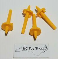 4 Rare KNEX Yellow Spinner Stem Replacement Parts Standard Pieces Lot K'NEX