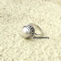 Pearl Stone Ring Solid 925 Sterling Silver Band Ring Statement Ring Size sr113