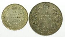 1917 Canada Quarter Half Dollar Two Canadian Coins C245089
