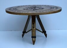 Coffee tea table wooden round nautical anchor design antique tripod stand gift