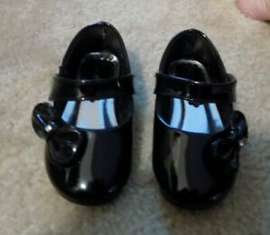 NEW - Toddler Girl's Black Patton Leather Dress Flats Size 4