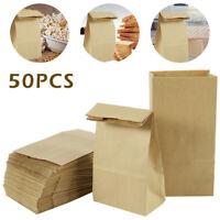 50Pcs Brown Kraft Paper SOS Lunch Food Carrier Bags Takeaway With Flat Handles