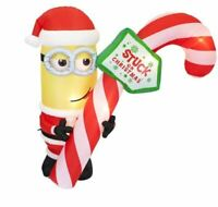 CHRISTMAS 7 FT MINIONS KEVIN SANTA STUCK CANDY CANE AIRBLOWN INFLATABLE GEMMY