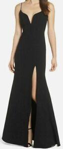Jill Stuart Women Black Sleeveless High-Slit Plunge Sweetheart Gown Dress 4