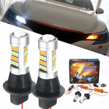 2x T20 7443 42 SMD 2835 LED Light Car Dual Color Switchback Turn Signal Lamp DRL