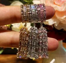 18k White Gold GF Long Fringe Tassel Ring made w Swarovski Crystal Pink Topaz