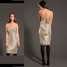 $2,290 BRAND NEW BRIAN REYES LAME DRESS SILVER LIGHT GOLD Nude Mesh Tulle sz 6