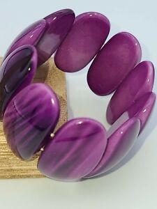 Purple Acrylic Ovals Stretch Bracelet