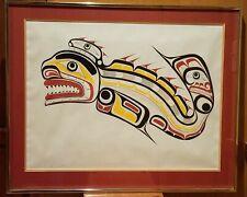 "TONY HUNT 1942-2017 First Nation Artist ""Kwakiutl Sculpin"" 73/200 Signed Framed"