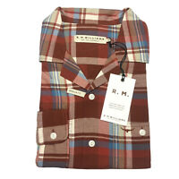 RM Williams Mens Camp Collar Long Sleeve Plaid Work Shirt Red Blue Beige Size XS