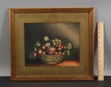 1839 Antique 19thC American Folk Art Theorem Still Life Fruit & Flowers Painting